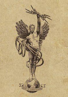 Spirit of Communication AT&T logo 1914 - Bell System - Wikipedia, the free encyclopedia Tattoo Drawings, Art Drawings, Tattoo Bein, Esoteric Art, Occult Art, Renaissance Art, Traditional Tattoo, Dark Art, Tattoo Inspiration