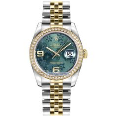 Rolex Datejust 36mm Stainless Steel and Yellow Gold 116243 Green... (48.555 BRL) ❤ liked on Polyvore featuring jewelry, watches, polish jewelry, yellow gold watches, rolex watches, floral watches and gold wristwatch