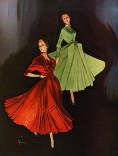 Christian Dior dresses illustrated by Rene Gruau, 1947