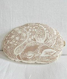 Deer Throw Pillow - Animal Plush - Sleeping Fawn - Mocha Brown - Hand-printed Decorative Pillow - Throw Pillow - Woodland Decor