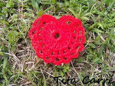 Coração vermelho em crochet