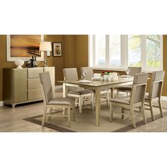 Furniture of America Adelina Contemporary Gold 7-Piece Dining Set