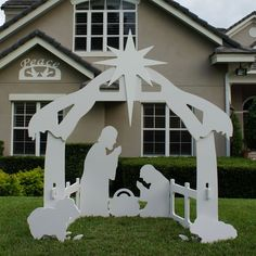 Outdoor Christmas Peace Sign with Outdoor Nativity Set