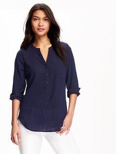 Crinkle-Gauze Tunic for Women