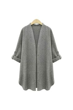 Plus Size Dark Grey Trench Coat - US$27.95 -YOINS