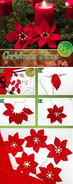 Easy #DIY Felt Christmas Star Ornament. ~ soo pretty and traditional looking