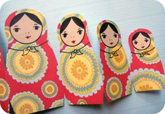 Craft Project: Russian Nesting Doll Card Matryoshka Doll Card Opened Card Closed Today I felt like making a matryoshka doll card, for no p. Book Crafts, Arts And Crafts, Kid Crafts, Girl Scout Swap, Girl Scouts, World Thinking Day, World Crafts, Paper Crafts Origami, Doll Party