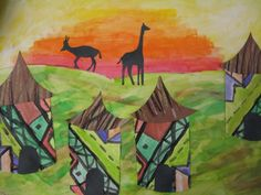 Fifth Graders just finished these beautiful paintings of Ndebele villages from Africa!