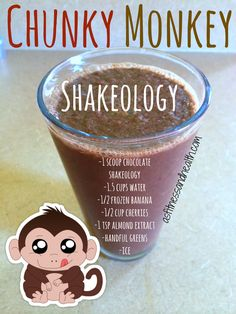Try out this Chunky Monkey Shakeology recipe! Bananas, cherries and almond extract! Absolutely delicious, healthy mom and kid approved! Check out even more at asfitnessandhealth.com/recipes