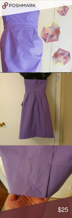 Lavender Strapless Dress Never worn light cotton dress with front pockets.  Light boning support.  Hidden zipper in back.  Kick pleat still stitched closed.  97/3% cotton/spandex.  EXCELLENT CONDITION. New York & Company Dresses Strapless