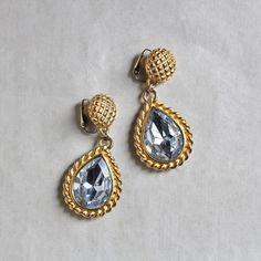 C.1960-70 VINTAGE CLEAR TEAR DROP EARRING (GOLD)/ヴィンテージ・イヤリング