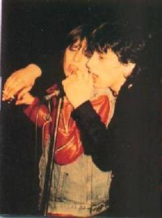 Rare photo of Chrissie Hynde & Johnny Thunders at Jerry Nolan's birthday party at Max's kansas City May 1980