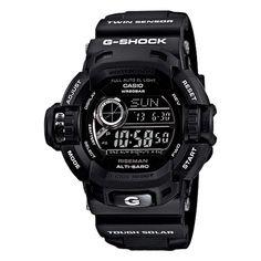Casio G9200BW-1 Men's G-Shock Triple Sensor Black Resin World Timer Alarm Digital Watch