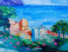 Excited to share the latest addition to my shop: Modern Impressionist Palette Knife Original Oil Painting of Positano Italy by Rebecca Croft #etsy #art #painting