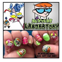 Oh so geek and glam! Me loves Dexters Laboratory!   One of my fave nail art designs of all time!  #nails #nailart #naildesigns #cartoons #geekandglam #tech #science #beauty #glam #makeup #art #nails #nail