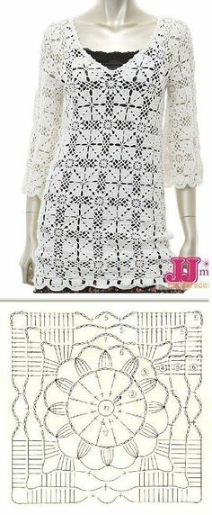 Crochet added a new photo. Débardeurs Au Crochet, Gilet Crochet, Crochet Motifs, Crochet Jacket, Crochet Squares, Crochet Cardigan, Thread Crochet, Crochet Stitches, Granny Squares