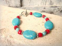 Genuine Red Coral and Turquoise Bracelet.Turquoise Toggle Bracelet.Genuine Turquoise Jewelry.Southwest Jewelry. Semi Precious Stone Bracelet