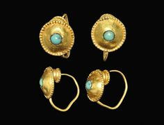 Roman Gold and Turquoise Earring Pair, 2nd-3rd century A.D.