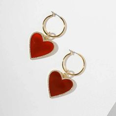 Red Heart Drop Earrings Cute Earrings, Heart Earrings, Crystal Earrings, Crystal Jewelry, Gold Earrings, Drop Earrings, Chandelier Earrings, Silver Jewelry, Jewelry For Her
