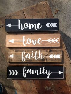 ARROW Wood Sign - (pick one) - rustic sign- Family, Love, Faith, Home, Gather, Laugh -Hand painted, Home decor