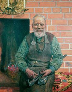 """Carl Larsson """"Smeden Erik Eriksson"""" (1915). Olja på duk ca 150 x 125 cm. Sundborns församling, Sundborn."""