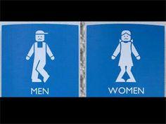 Restroom signs seen near Detroit