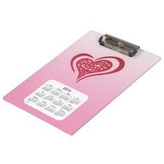 2014 Calendar Whimsical Heart Clipboard Design from Calendars by Janz