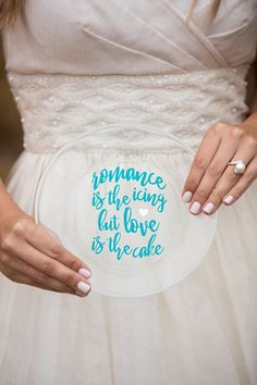 Adorable DIY, Romance is the icing, but love is the cake, wedding cake plate idea!