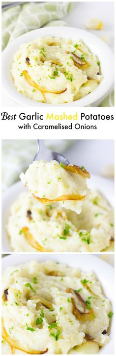 The Best Garlic Mashed Potatoes with Caramelised Onions are so creamy, done in under 30 minutes and are a definite crowd pleaser!