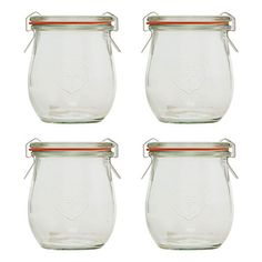 Great-looking Weck jars. Great for canning, but also fab for gifts or storage or leftovers or flowers or.... Plus, they're affordable. This set of four 7.7-ounce jars is $18.