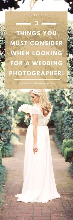 Choosing a wedding photographer can be hard! Check out these three wedding photographer tips when selecting your wedding photographer. Armed with these tips and questions you won't choose wrong. #weddingphotographer #weddingphotographertips #7centerpieces