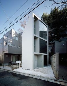 On a narrow site in the Nagano section of Tokyo the name of this house 63.02 degrees by Schemata Architects