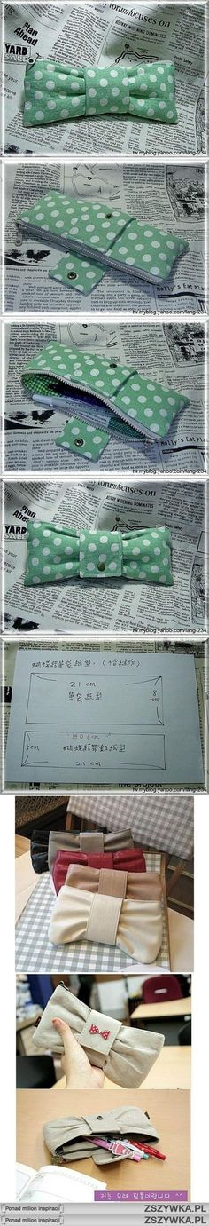 bow - pencil case...would be cute to enlarge slightly for a small purse