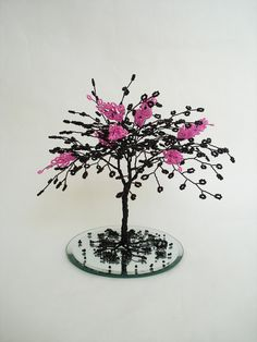 Items similar to Blossom Wire Sculpture Tree In Pink on Etsy Wire Art Sculpture, Tree Sculpture, Wire Wrapped Jewelry, Wire Jewelry, Sculptures Sur Fil, Wonderful Day, French Beaded Flowers, Unique Housewarming Gifts, Wire Trees
