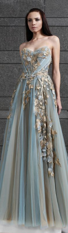 Tony Ward RTW F/W 2014-2015. Gorgeous aqua and gray chiffon gown. Love the leaf detail!