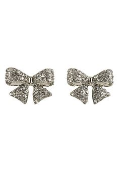 Rhinestone Embellished Bow Earrings available at #Maurices