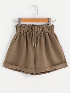 SheIn offers Shirred Drawstring Waist Cuffed Shorts & more to fit your fashionable needs. Shorts Outfits Women, Pants Outfit, Short Outfits, Trendy Outfits, Kids Outfits, Cool Outfits, Summer Outfits, Summer Shorts, Girls Fashion Clothes