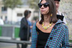 Natasha Goldenberg relies on bold jewels.  #pfw #streetstyle #ss14
