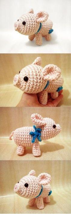 Mesmerizing Crochet an Amigurumi Rabbit Ideas. Lovely Crochet an Amigurumi Rabbit Ideas. Crochet Mignon, Crochet Pig, Crochet Amigurumi, Cute Crochet, Amigurumi Patterns, Crochet Animals, Crochet Crafts, Crochet Dolls, Yarn Crafts