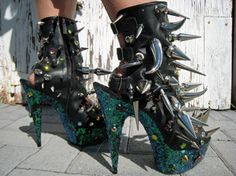 Giant spike aqua glitter buckle shoes