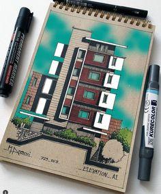 Architecture Design, Architecture Concept Drawings, Architecture Sketchbook, Architecture Magazines, Facade Design, Interior Design Presentation, Interior Design Sketches, Inspiration, House Sketch