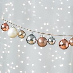 Hue Ornaments Iced Metallic Set, love these colors together-next Christmas. Christmas Love, Christmas Baubles, Christmas Colors, Winter Christmas, Christmas Themes, Holiday Ornaments, Silver Ornaments, Christmas Tree Colour Scheme, Decoration Christmas