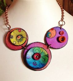 """Polymer clay, necklace, """"Planets..."""" 