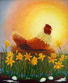 Spring Chicken Painting by Karen Mattson