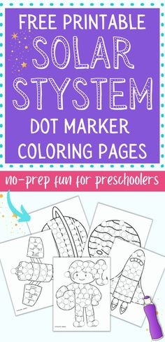 These free printable solar system dot marker coloring pages are perfect for a homeschool preschool lesson on outer space and the solar system. Click through today for 11+ free printable outer space dab it dot marker coloring pages today! They're a fun, no-prep activity for toddlers and preschoolers. Learn how to make them a no-mess activity, too, with a tip in the post. Space Activities For Kids, Toddler Activities, Preschool Lessons, Toddler Preschool, Printable Planner, Free Printables, Outer Space, Solar System, Book Recommendations