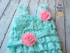 Aqua & Candy Pink Lace Ruffle Petti Romper and by TheRogueBaby, $22.95