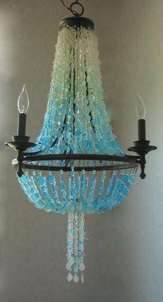 Sea Glass Chandelier Coastal Decor Beach Glass Design Lighting Fixture #CoastalRadianceLighting