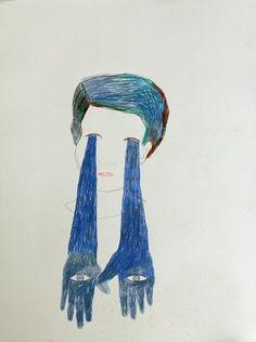 Alexandra Duprez / Mains bleues / 2012 / Crayon de couleur sur papier / 50 x 60