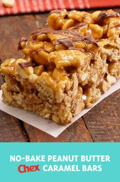 Gluten-free desserts don't have to be complicated or boring! Try these easy No-Bake Peanut Butter Chex Caramel Bars for parties, potlucks and everything in between … no oven required! meals no oven No-Bake Peanut Butter Caramel Bars Chex Mix Recipes, Candy Recipes, Sweet Recipes, Baking Recipes, Cookie Recipes, Snack Recipes, Dessert Recipes, Drink Recipes, Gluten Free Desserts