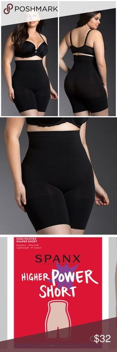 Spanx Higher Power Short Brand new. I just opened from packaging but never actually tried on. It comes with packaging, Spanx bag and coupon. This Higher Power Short is perfect for everyday slimming and wears well under anything. Seamless and lightweight for all-day comfort, the shaping zones target your tummy (providing 360 degrees of support). A high-waisted design eliminates muffin top, and a no-slip strip at the waistband makes the fit stay-put. High-waisted mid-thigh shaper…